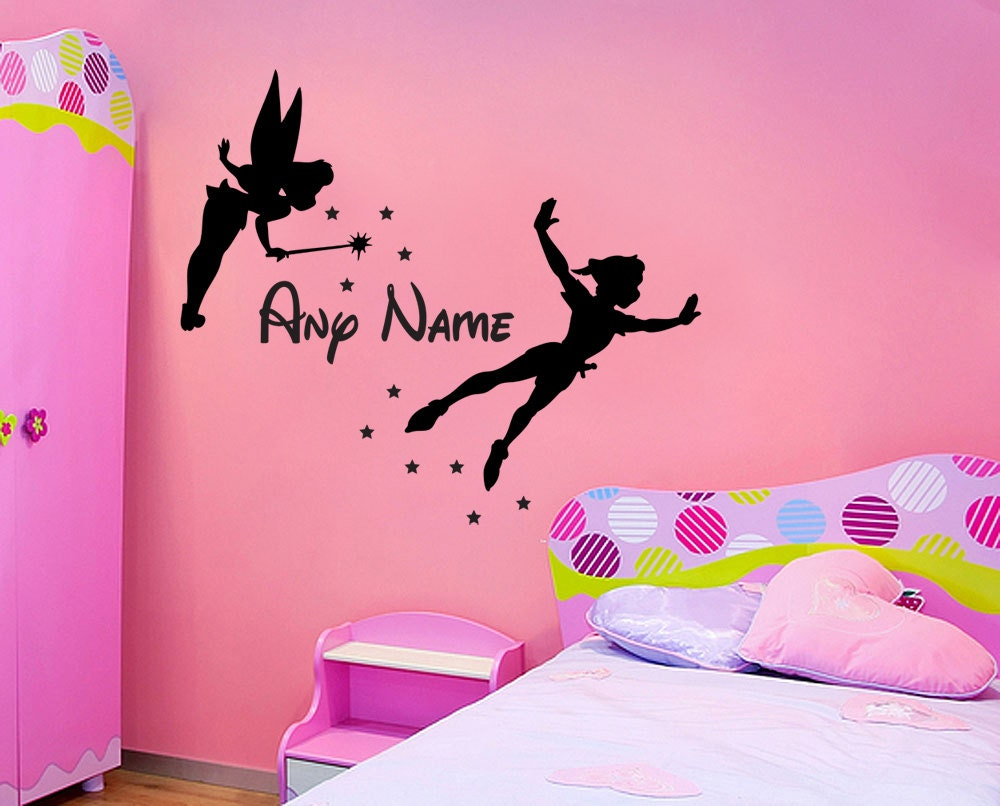 tinkerbell peterpan personalised name wall sticker. Black Bedroom Furniture Sets. Home Design Ideas