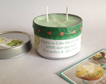 Candle duo, Aloe Vera & Cucumber, fresh candle, eco soy wax candle, two in one candle, pamper gift, gift for friend, house warming gift.