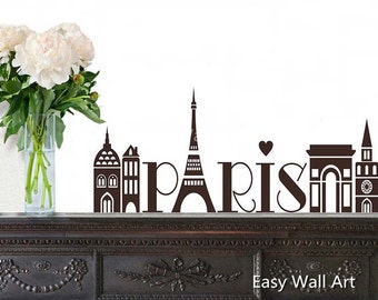 Paris Wall Decal, Paris France Wall Decal for Bedroom, Office & Paris Wall Decal Paris Wall Art Decal #S22