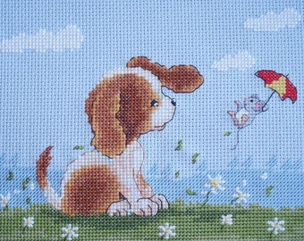KL65 Windy Day! Sam & Peeps (Puppy and Mouse) Counted Cross Stitch Kit