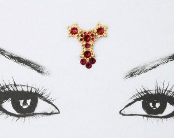 Bollywood bindi, golden and red, rhinestones face jewel, big bindi, bellydance bindi, tribal fusion bindi, reusable bindi, dance accessory