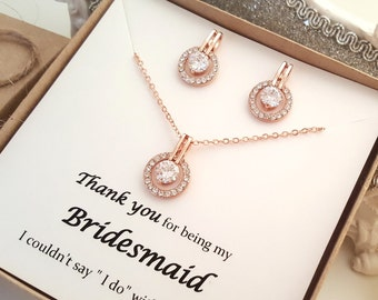 Rose Gold Bridesmaid Earrings and Necklace set, Message Gift Box #2