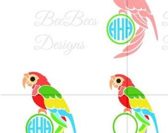SVG Parrot, Monogram Parrot SVG, Parrot DXF, Studio Compatible file