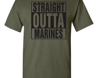 Straight Outta The MARINES United States Marine Corp Men's Tee Shirt 1304