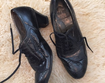 Womens 1930s Black Oxford Lace Up Shoes/30s Seiberling Heels
