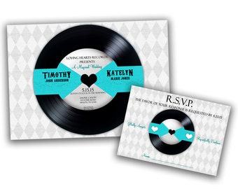 Vinyl Record Wedding Invitation - Unique Wedding Invitation - Record Wedding Invitation - Blue Wedding Invitation - Vinyl Record Invitation