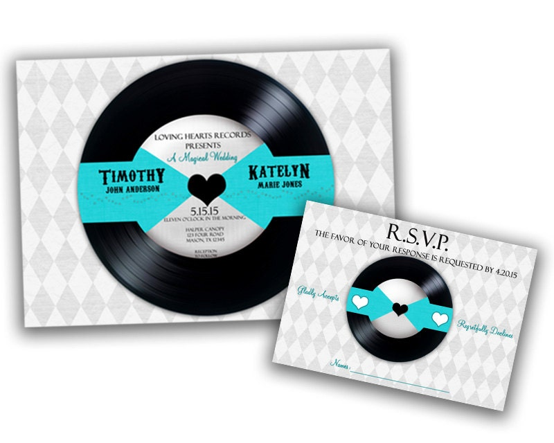 Vinyl record wedding invitation unique by partyprintexpress for Etsy vinyl wedding invitations
