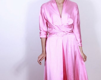 Show Stopping Pink Satin I.Magnin & Co 1950s Dress