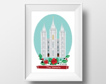 Salt Lake Temple, Illustration, Customized Temple Art Print, Wedding Gift, LDS Temple