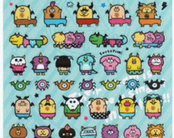 Japan Cute Monster Stickers 1 Sheet