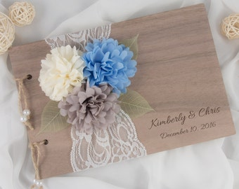 Rustic Wood Guest Book - Blue Wedding Guest Book - Serenity Guest Book - Wood Paper Guest Book