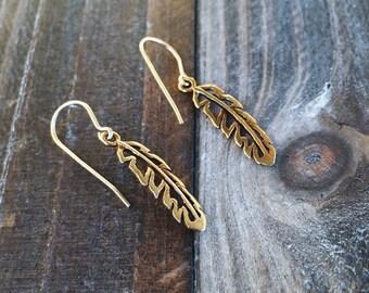 Feather earrings - gold filled earrings - dangle earrings
