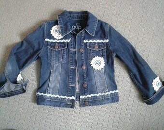 DENIM JACKET, jean jacket, boho crochet jacket, cowgirl outfit, bohemian denim jacket, birthday top coat, blue white denim, 7 8 9 year old