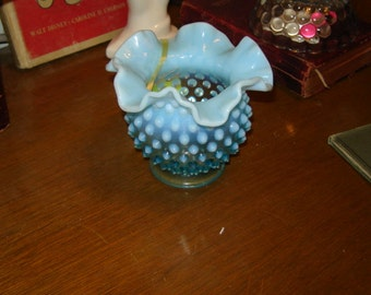 Fenton blue opalescent vase 2