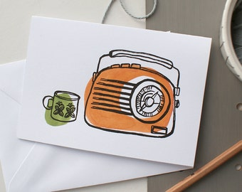 Letterpress Radio and cup of tea Greeting card