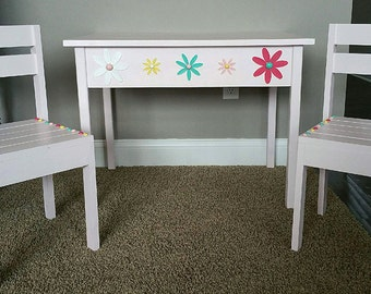 Children's Table and Chairs- Children's Tea Table and Chairs - Kiddy Table - School Table - Craft Table - Wood Table