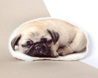 """Sleeping Pug Pillow – Cute Pet Lover Gift, Pug Home Decor, Made of Linen Fabric, 18"""" x 11"""""""