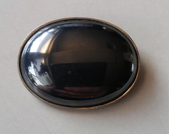 Large vintage hematite silver brooch