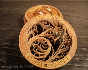 Personalized Birch bark wedding ring box, Engraved Wooden Ring Box