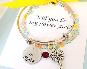Will you be my flower girl, Child Adjustable Bangle Bracelet, Flower Girl Bracelet, Personalized Name Bracelet, Little Girls Bracelet
