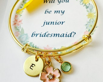 Will you be my junior bridesmaid, Adjustable Bangle Bracelet, junior bridesmaid Bracelet, Personalized Name Bracelet, Girls Bracelet