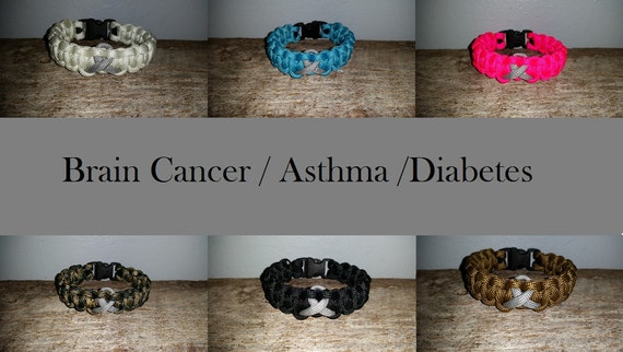 Brain Cancer / Asthma / Diabetes Awareness 550 paracord survival bracelet gray grey ribbon