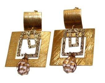 Square Dangle Earrings 18k Gold Plated  - Square Dangle Earrings with CZ