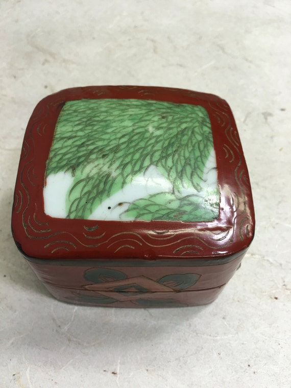 Box Red Lacquered Chinese with a Porcelain Lid Handmade Hand Painted Chinese Porcelain Box Container Unique Statement
