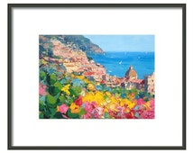 Positano Italy Prints from Original Painting Oil Painting Abstract Painting Canvas Painting Wall Art Home Decor Wall Decor Gift For Her