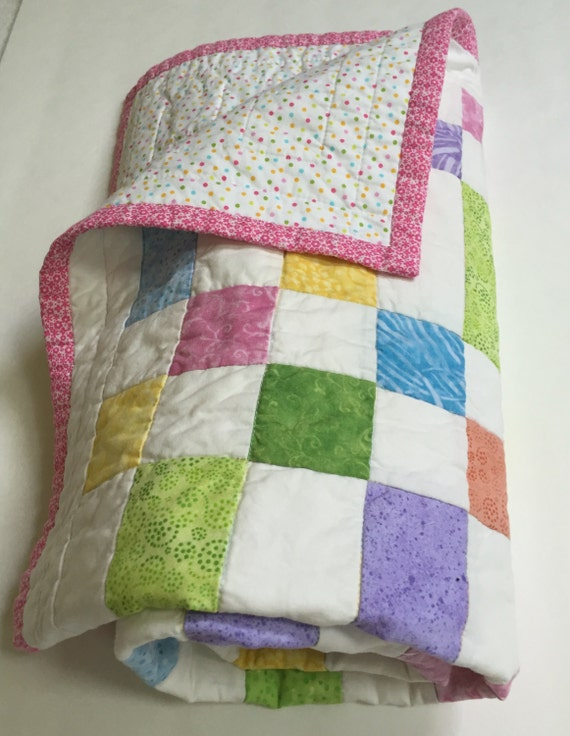 Baby Quilt, Crib Quilt, Girl's Quilt, Colorful Quilt, Patchwork Quilt, Quiltsy Handmade