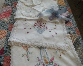 40s Cottage Charm Dresser Scarf Collection of 5