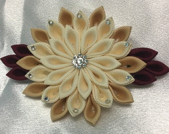 Ivory, Pale Gold And Wine Kanzashi Style French Barrette