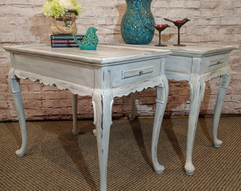 End Tables, Side Tables or Night Stands - Pair - Mahogany Ethan Allen - Drink Shelf - Annie Sloan Chalk Paint and Stencil