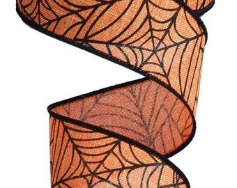 "1.5 "" Spider Web Ribbon, Spider Web Ribbon, Orange Black Halloween Ribbon Ribbon, Wired Halloween Ribbon, Wired Ribbon - (10 Yards) - RG1203"