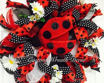 Ladybug Wreath, Red Black Lady Bug Wreath, Spring Wreath