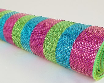 "21"" Hot Pink, Lime, Turquoise Laser Mesh, Deluxe Mesh, Deco Poly Mesh Wreath Supplies - CR074-H15"