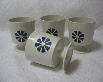 SALE-Set of 4 Vintage David Douglas Accalac  cups, Mid Century Modern, Danish Modern, Retro, stacking cups