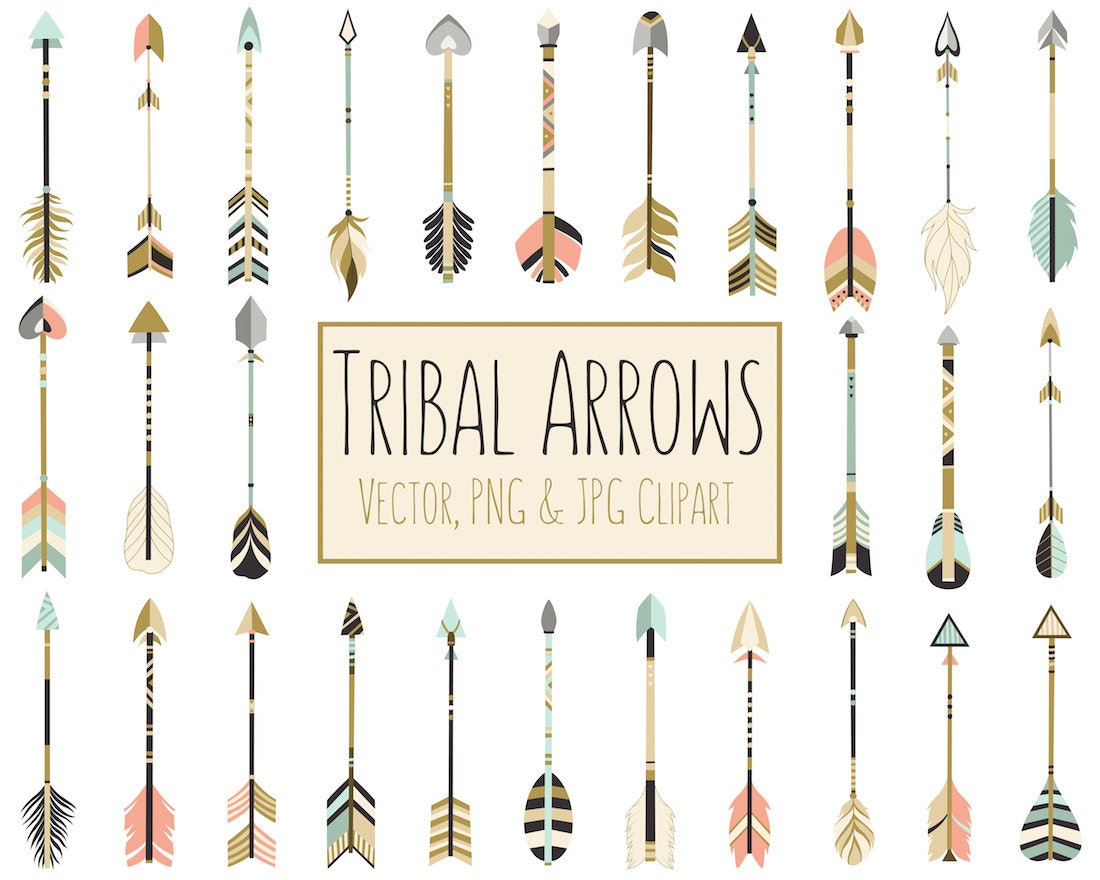 Tribal Arrows Boho Clipart 28 300 DPI Vector by KennaSatoDesigns
