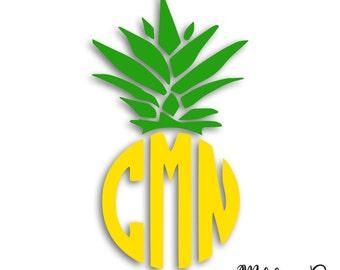 Pineapple Yeti Decal/ Pineapple Decal/ Pineapple Car Decal/Yeti Tumbler Decal / Custom Yeti Decal / Yeti Monogram Decal
