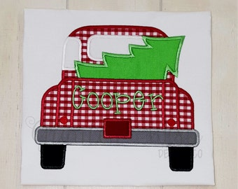 Truck and Christmas Tree Applique Shirt