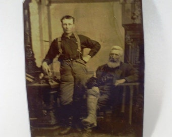 Antique Tin Type Photograph of 2 Firefighters in Uniform