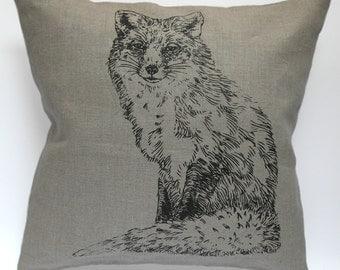 Vixen - handmade linen pillow cover 40x40cm