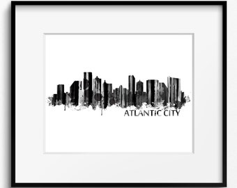 Atlantic City Skyline, Watercolor, Black and White Art Print (714)Atlantic City Cityscape, New Jersey Art Print, USA Art Print,Atlantic City