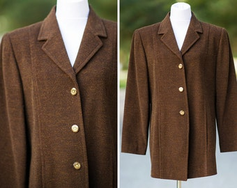 retro jacket Large Medium brown gold shimmer  unique winter coat copper button down lined 60s 70s style chocolate