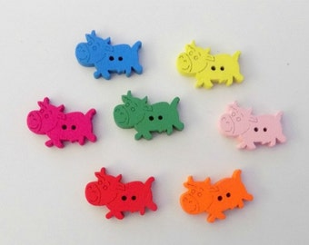 7 Little  Colourful Cow Buttons  - #SB-00162