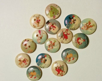 15  Wooden Christmas Button -Snowman-Santa- Sewing - Quilting Buttons #C-00043