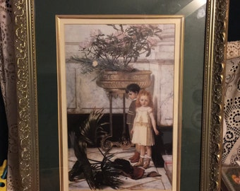Beautifully Framed and Matted Victorian Style Picture of a Little Red Haired Girl and Dark Haired Boy; Victorian Boy and Girl Wall Art Deco