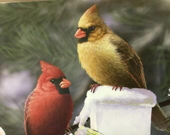 Beautiful Cardinals Christmas Card. Artist Bradley Jackson