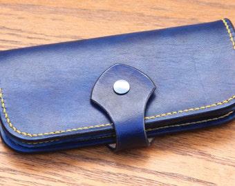 Handmade  Leather wallet - Blue Leather