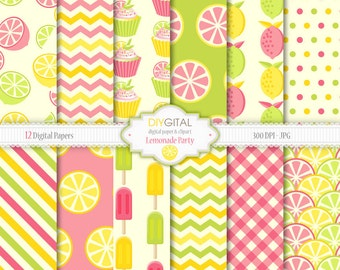 Lemonade party - 12 yellow, green and pink lemonade digital papers - summer fruit backgrounds with lemons, cupcakes, popsicles, gingham